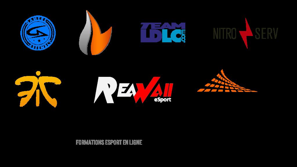 logos d'entreprises, équipes, sponsors, événements liés à l'esport